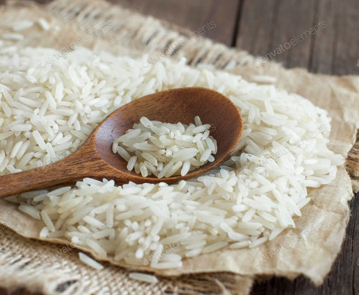 Basmati rice with a spoon