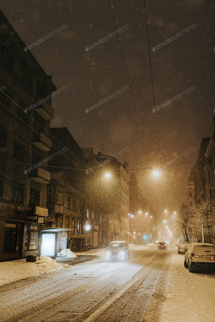 Winter road in the city