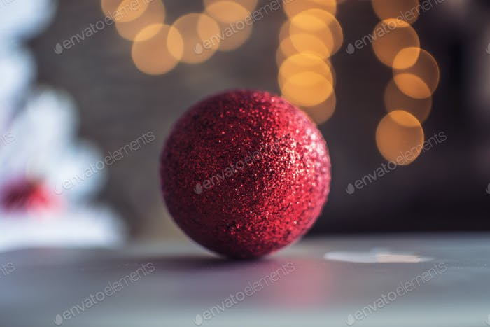 Christmas ball decoration on a bokeh background