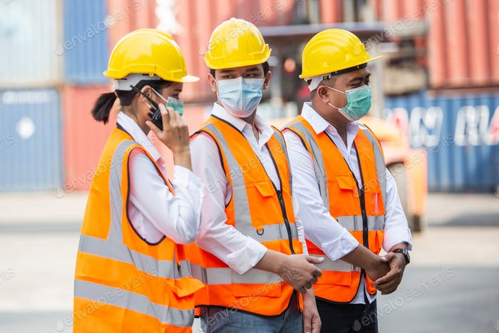 Group of construction worker wearing protective mask