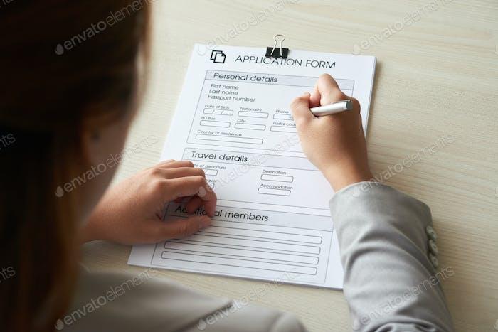 Bewerbungsformular ausfüllen