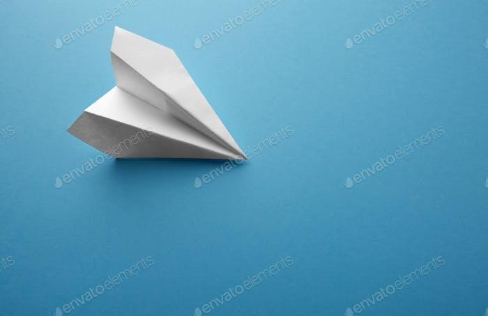 Travel plane concept.Mockup design of travel concept with plane on blue color background