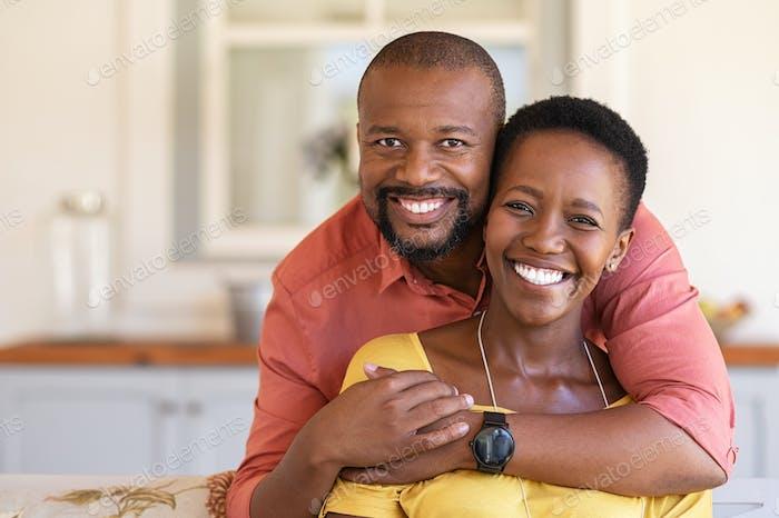 Cheerful mature balck couple