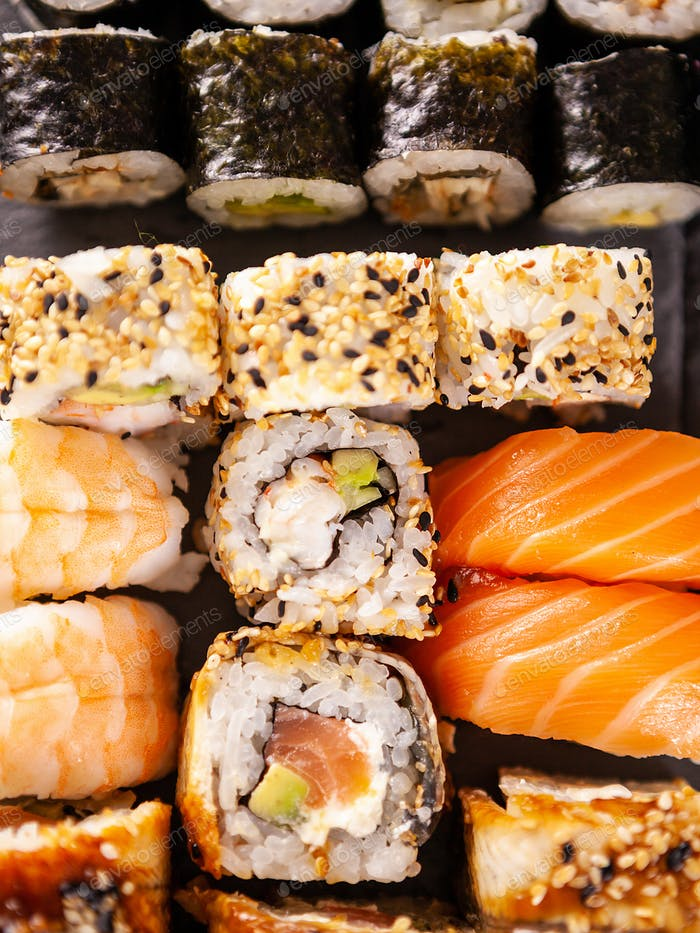 Top view close up sushi rolls