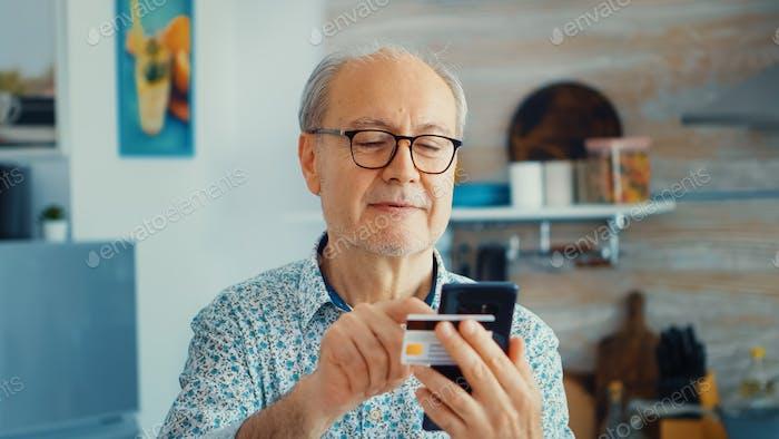 Pensioner paying online