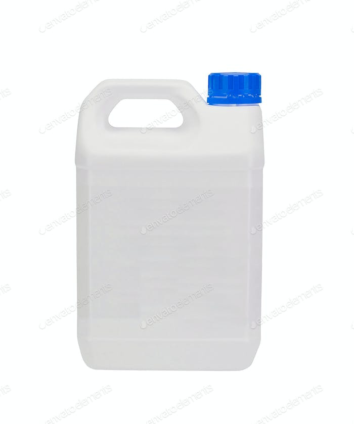 White plastic container with blue cap