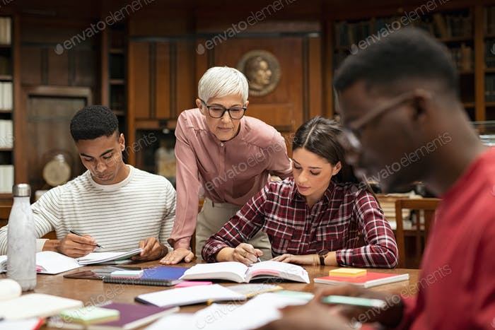University students studying with teacher