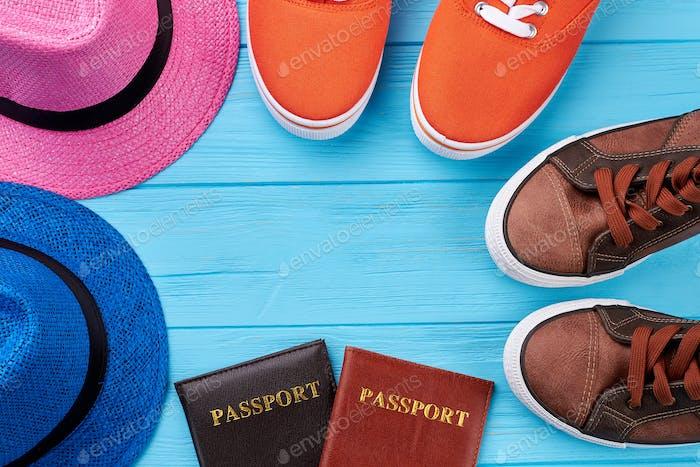 Sport shoes, hats, passports