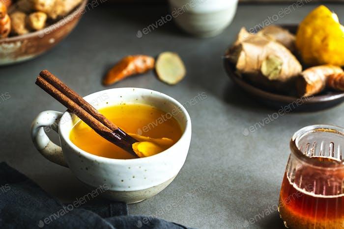 Turmeric with Ginger and Lemon Tea