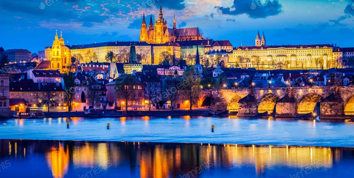 Prague Castle in twilight