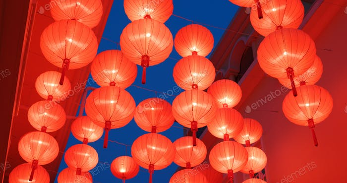 Traditional Red chinese lantern decoration for chinese new year at night