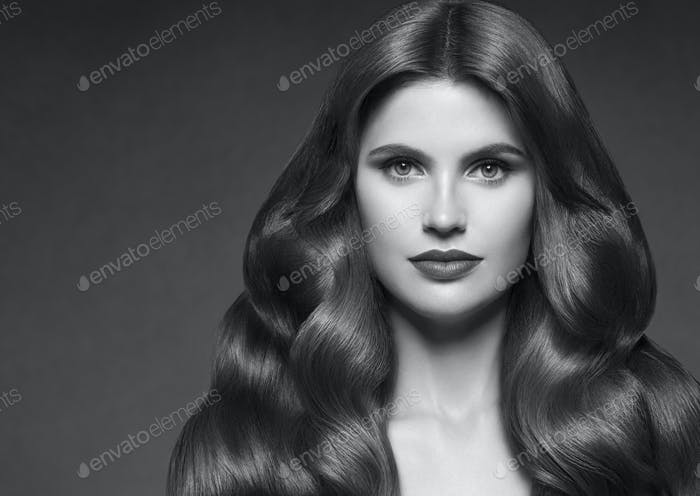 Hairte hairstyle model beauty woman long curly brunette.