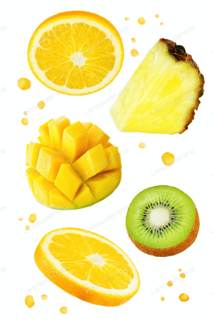 Flying Oranges with mango, kiwi, pineapple and juice's spray