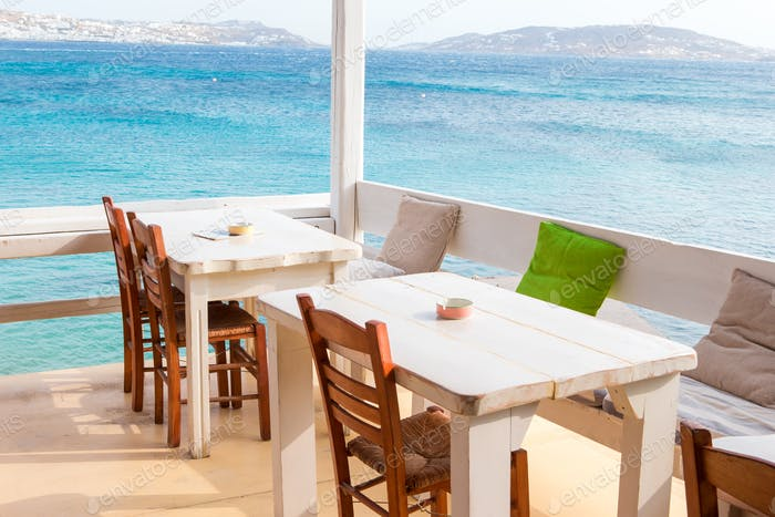 Summer empty openair cafe with sea view