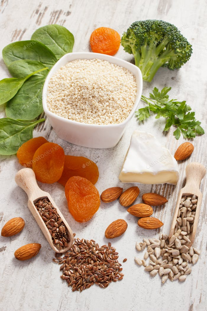 Products and ingredients as source calcium and dietary fiber, healthy nutrition