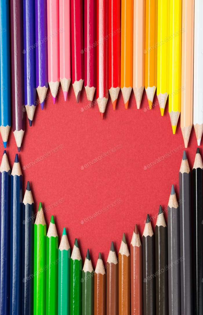 Color pencils arranged in a heart shape