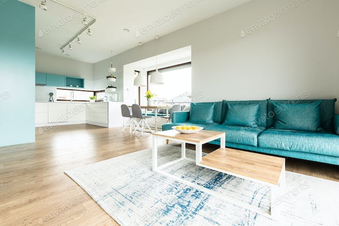 White and turquoise open interior