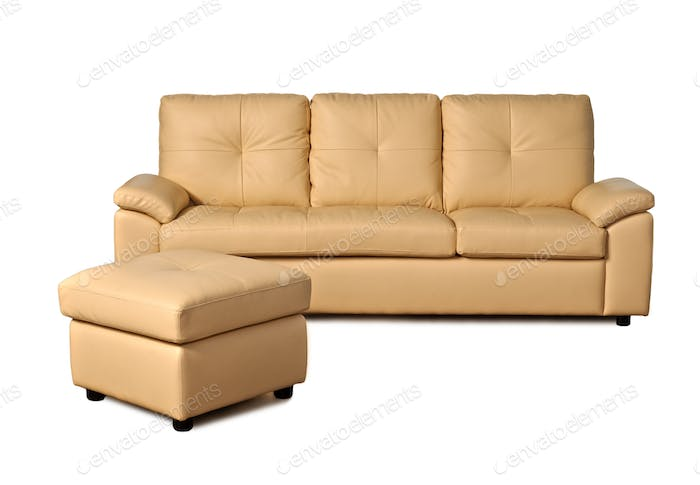 Beige leather sofa on white background
