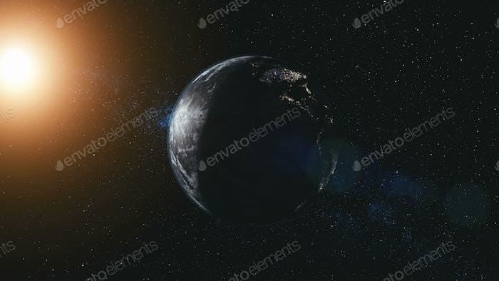 Rotate planet earth zoom in sun beam illuminate
