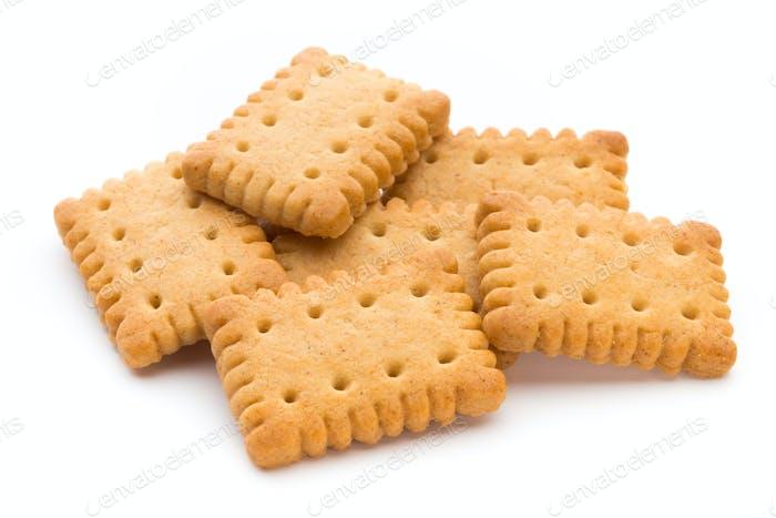 Leckere Cookies Kekse auf dem isolierten Hintergrund.