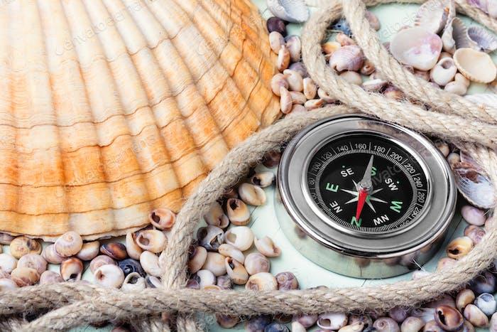 Kompass und Muscheln