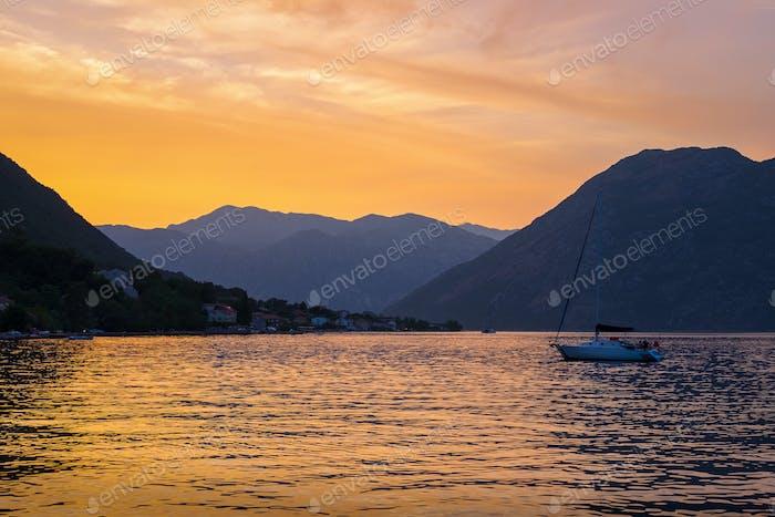 Sunset in Kotor Bay, Montenegro
