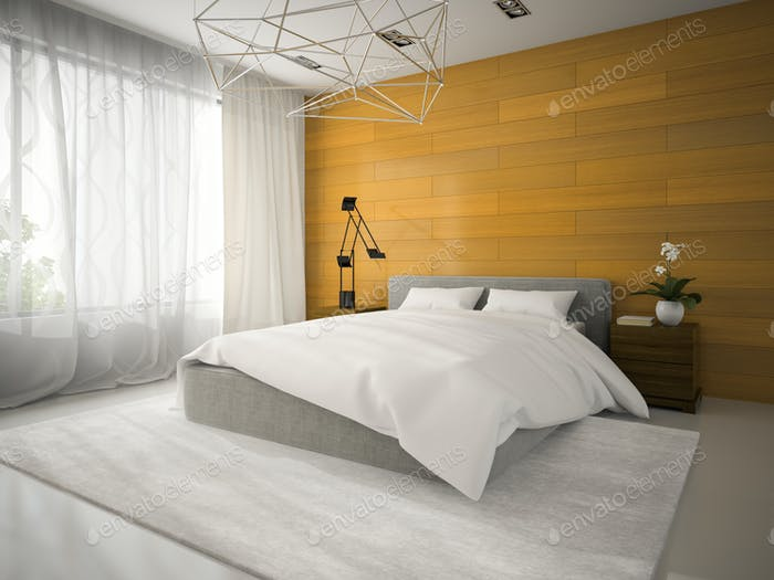 Interior of badroom with wooden wall 3D rendering