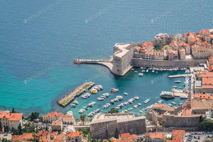 Aerial view of the Dubrovnik old town marina