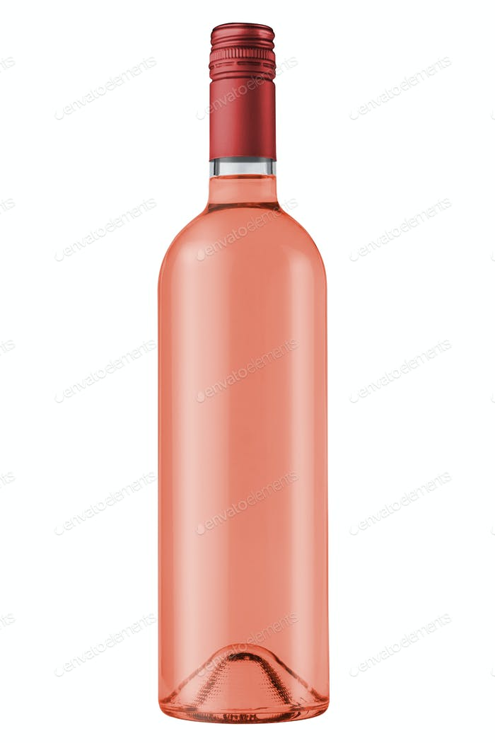 rose wine bottle with red screw cap on white background