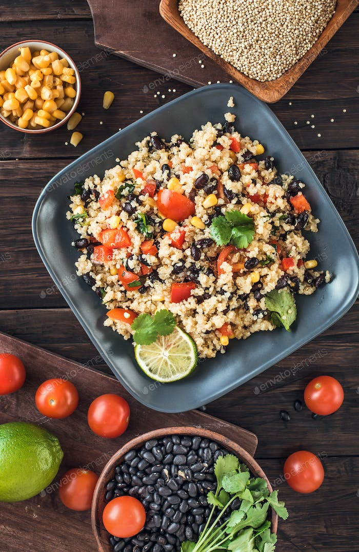 Black bean quinoa salad above