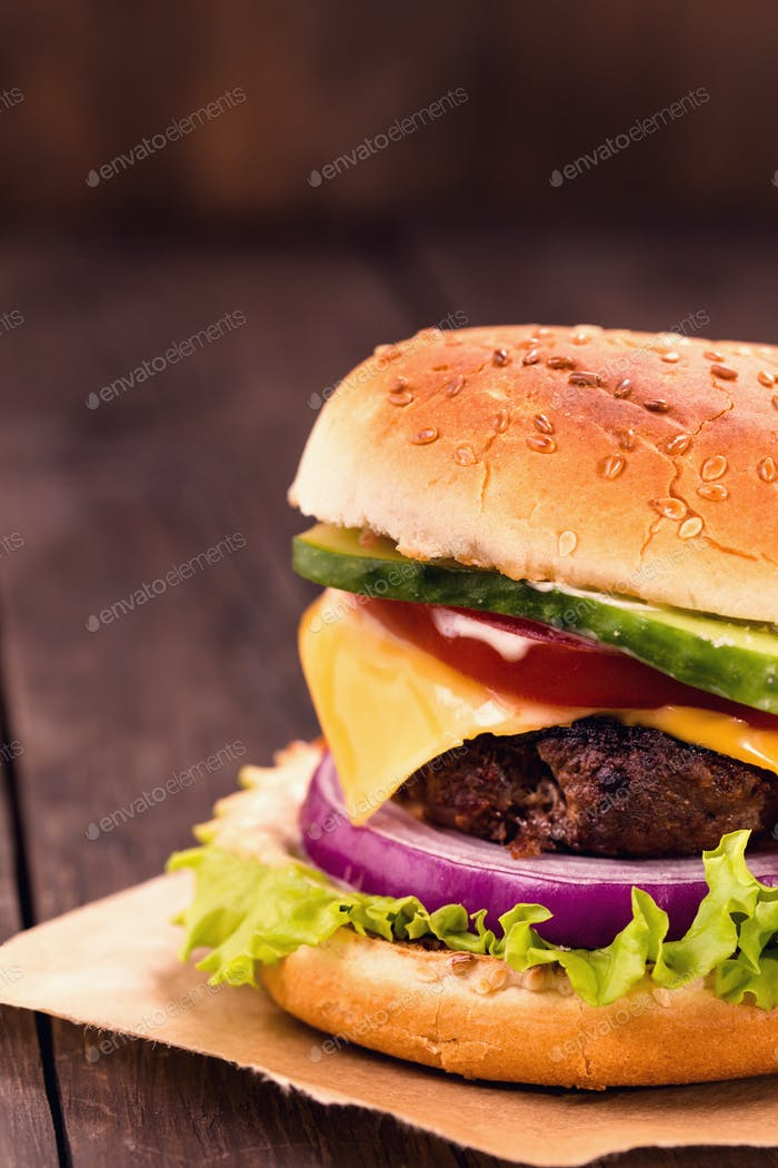 Cheeseburger closeup