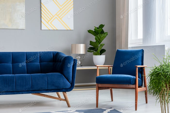 Real photo of a retro armchair next to a modern sofa with a plan