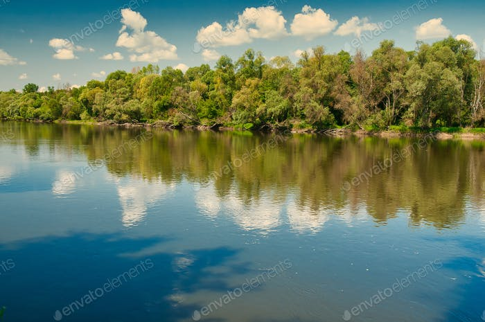 Summer landscape with the river under the blue sky with white clouds