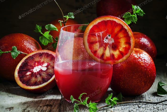Juice of blood orange in a large glass