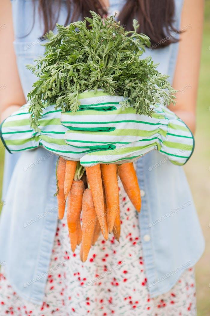 Frau hält ihre Bio-Karotten an einem sonnigen Tag
