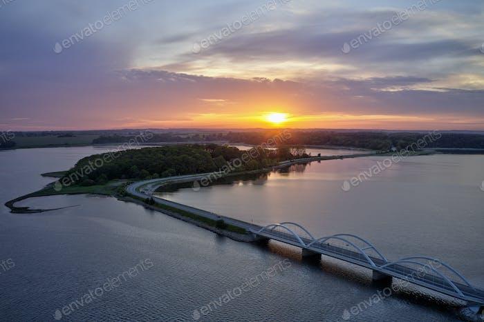 Aerial view of Munkholm bridge, Denmark