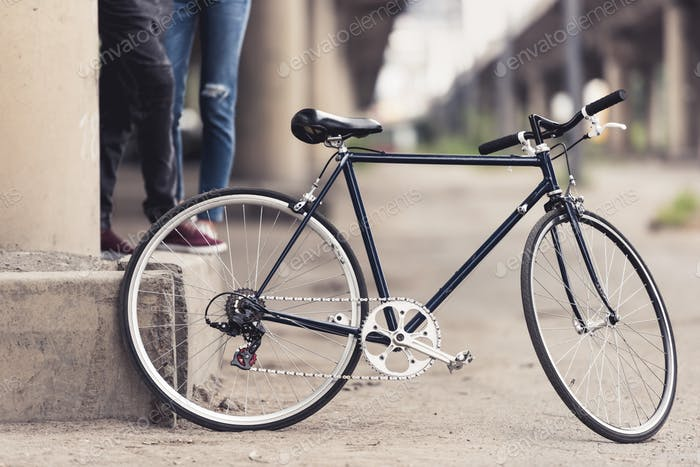 vintage bicycle standing in industrial district