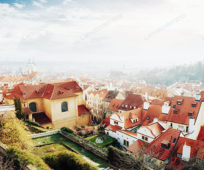 red roofs Czech Republic. The picturesque view