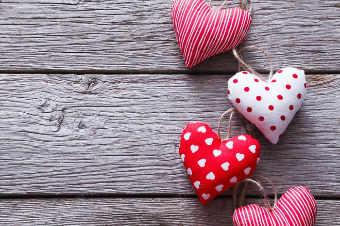 Valentine day background, hearts bunch on wood