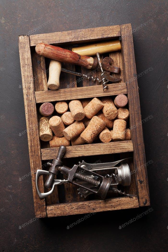 Wine corkscrews and corks