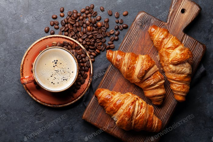 Espresso coffee and croissants for breakfast