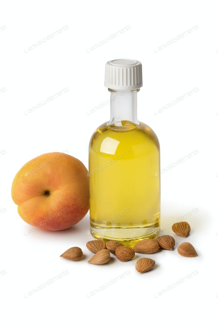 Glass bottle with cosmetic apricot kernel oil