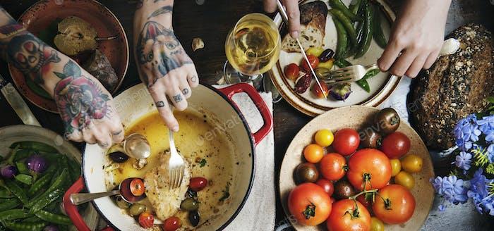 Roasted chicken dinner food photography recipe idea