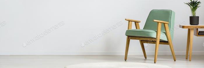 Green wooden armchair in room