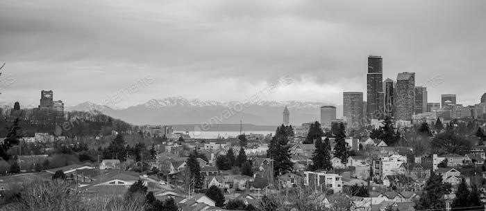 Seattle Vintage Monochrome Downtown City Skyline Puget Sound