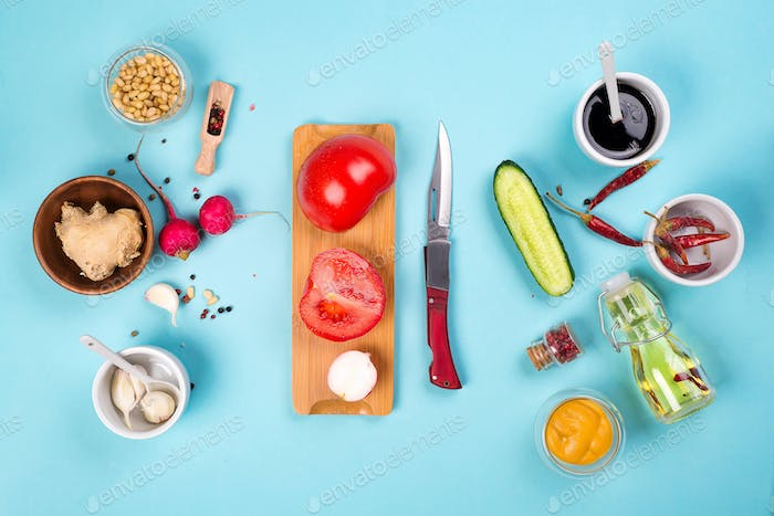 Ingredients for preparation of pickled ginger and kimchi from radish