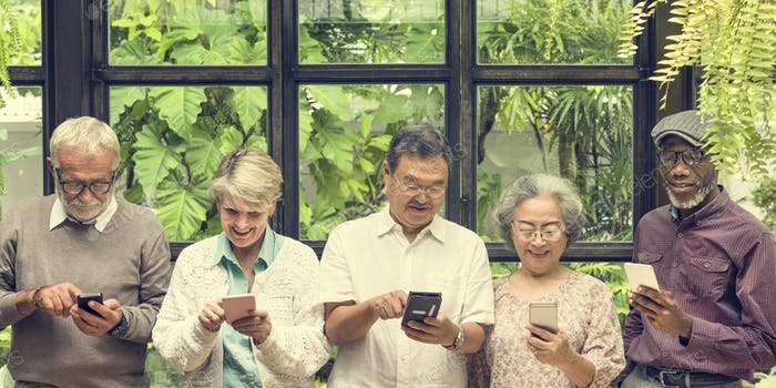 Group Of Senior Retirement Using Digital Lifestyle Concept