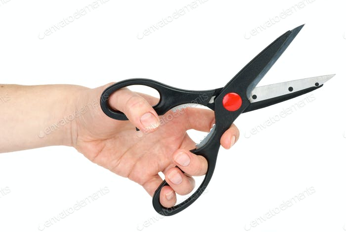 Hand mit Schere
