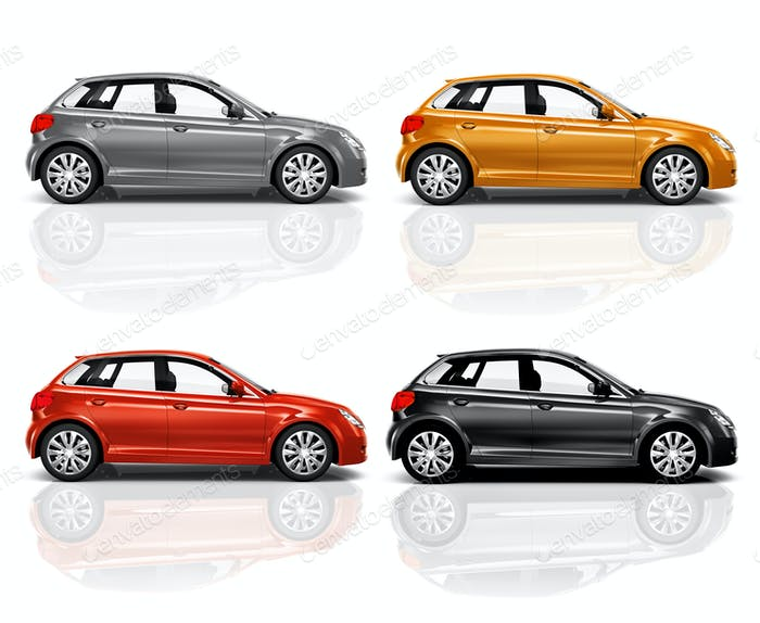 Set of 3D Hatchback Car