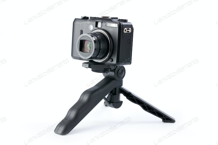 digital camera on tripod